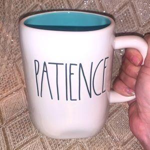 Rae Dunn white mug with aqua inside PATIENCE
